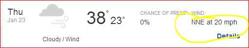 Weather Thursday January 23, 2014