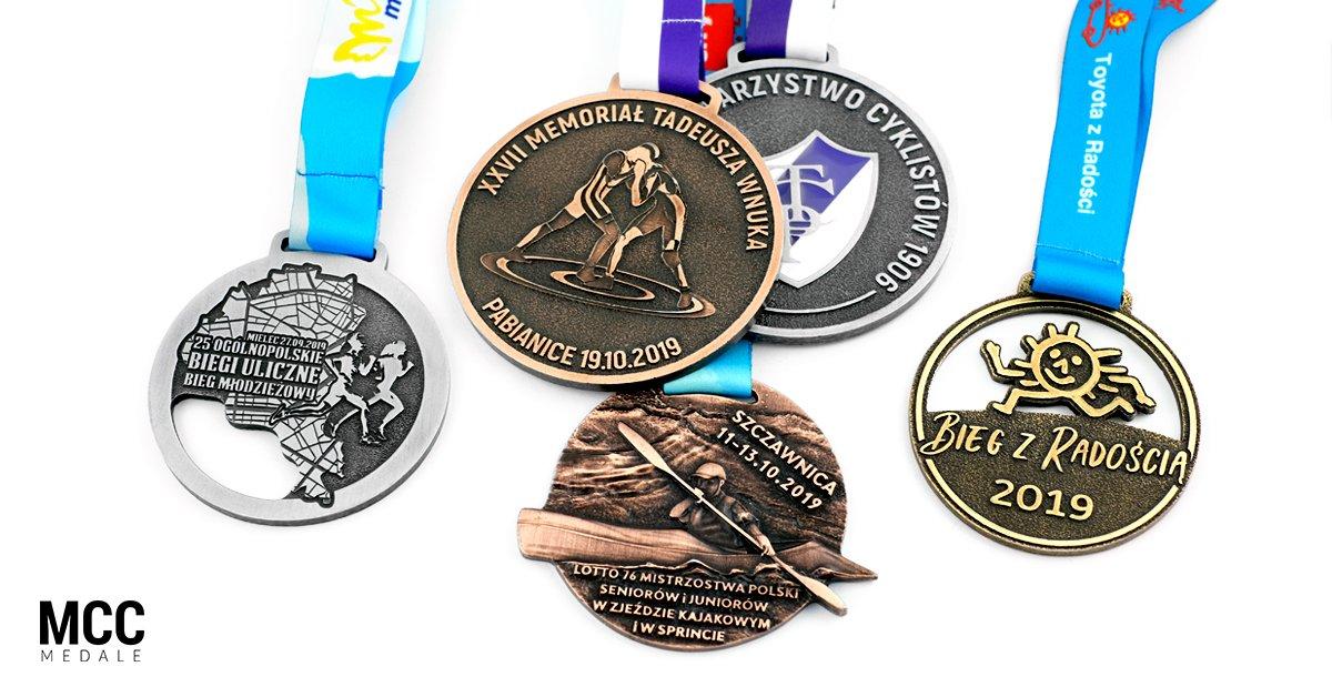 Różne medale sportowe wykonane przez MCC Medale