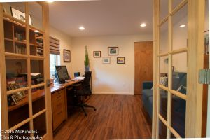 Looking through glass doors to home office