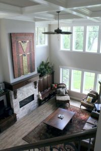 Looking down on living room from upper level