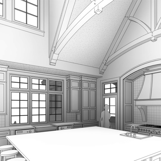 Computer perspective of kitchen
