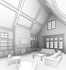 Computer line art perspective of the living room