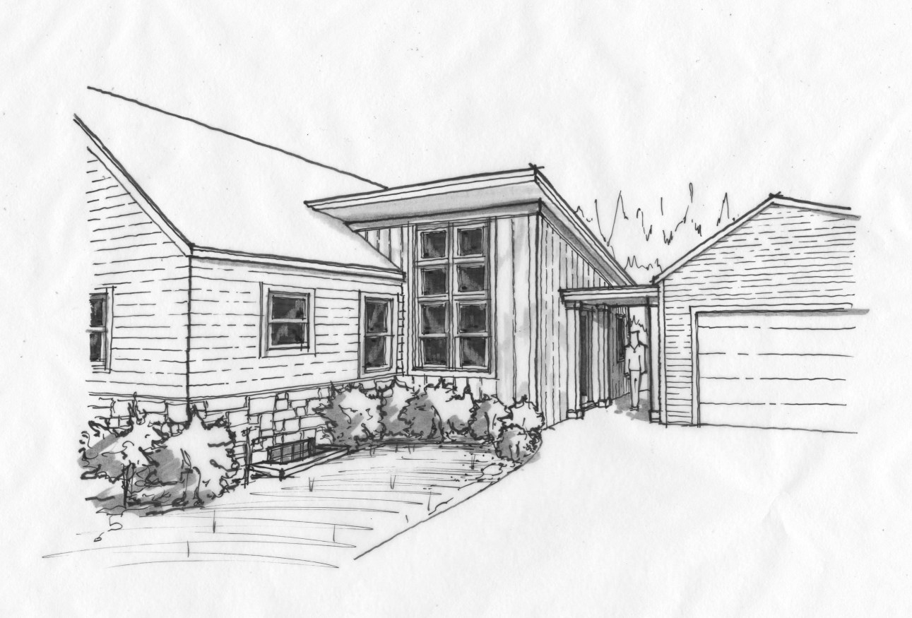 Line art Sketch of a small mudroom addition