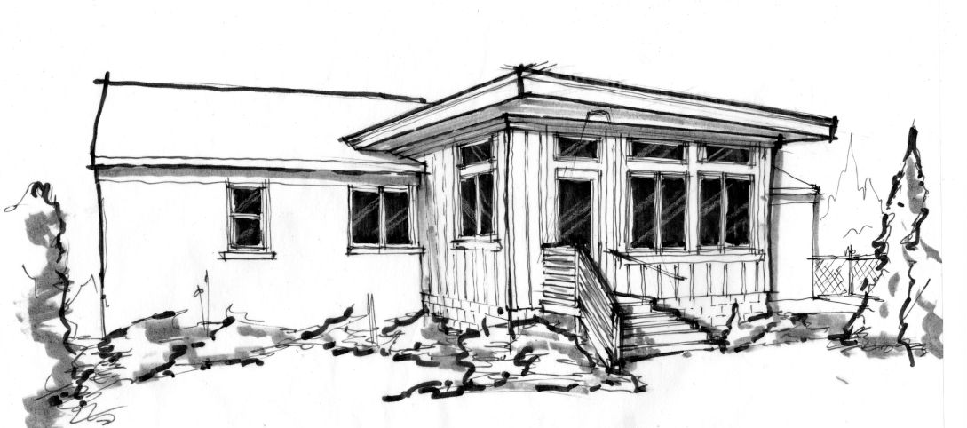 Hand sketch of an exterior addition concept