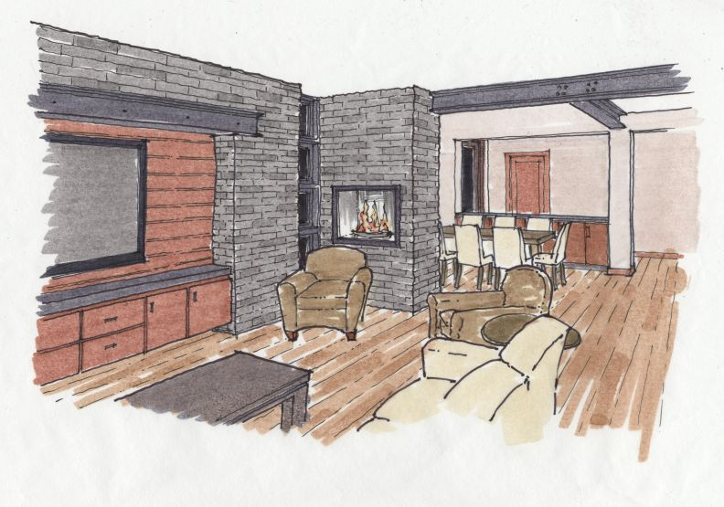 Hand colored rendering of a contemporary fireplace