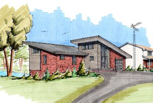 Color hand drawn rendering of entry view of house