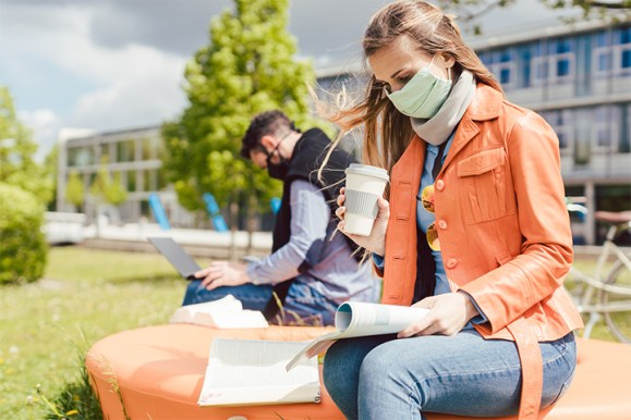 college students wearing masks on campus. Join an online college support group in Maryland with a therapist at Montgomery County Counseling Center
