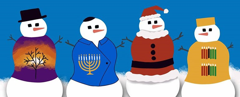 "cartoon of 4 snowmen showing different holiday traditions from each religion with the title ""what are your unique holiday traditions?"""