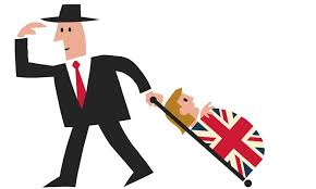 cartoon of businessman wheeling his wife in a suitcase covered with the flag of england