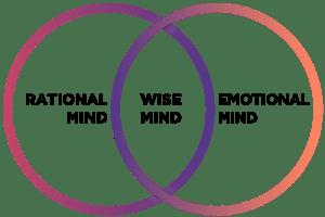 DBT wise mind vendiagram: rational mind on left, emotional mind on right, wise mind in overlap in the middle