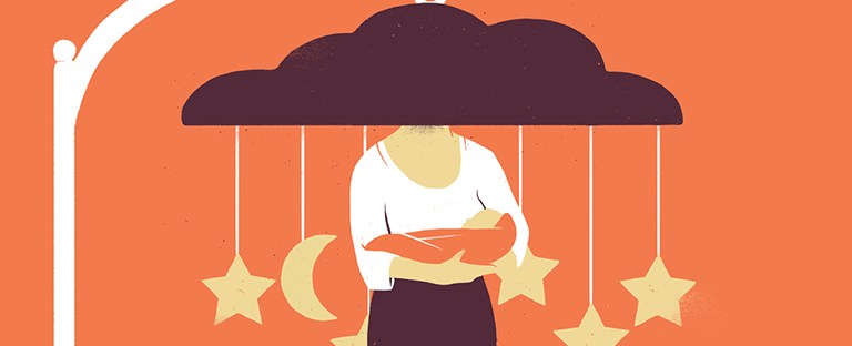 cartoon of postpartum depression represented by a parent holding a baby with a dark cloud covering their face