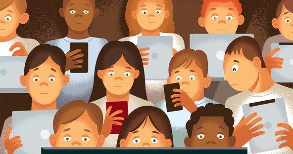 cartoon depicting screen addictiion