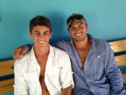 Chase and McCrae sitting in the local airport after a day of fishing and beaching on Anegada.