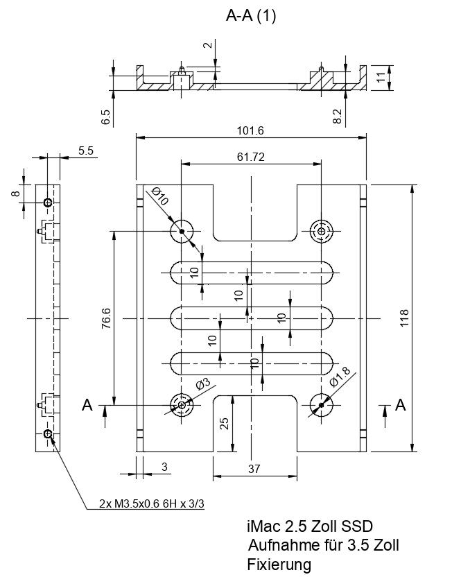 Zeichnung des Rahmens