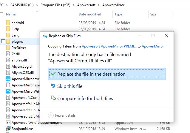 Replace file yang di pindahkan