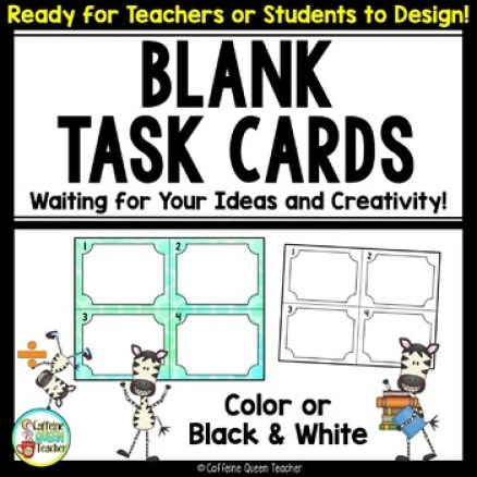 Blank Task Cards - Make Your Own or allow students to write their own questions