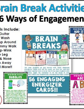 Brain Breaks are a great way to take a break in the classroom and do a fun activity. Brain Breaks are energizers and get students focused on learning.