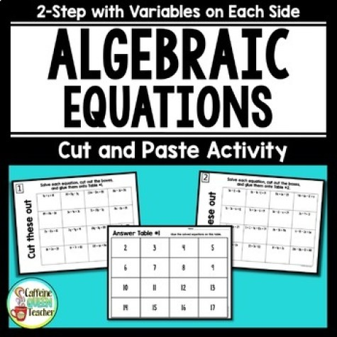 cut and paste 2-step algebraic equations with variables on each side