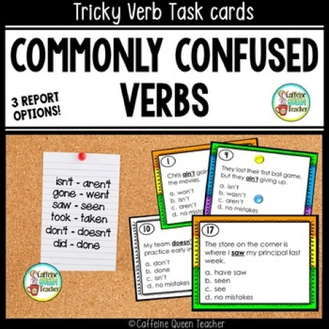 Confusing Verbs - Task Cards Commonly Misused Verbs - set of 24 task cards