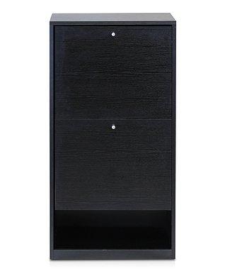 Black Two-Door Shoe Storage Cabinet