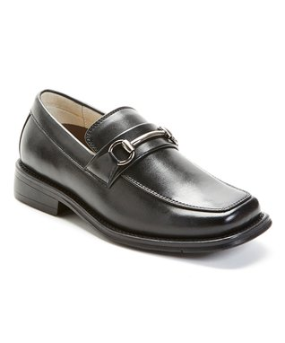 Black Round-Buckle Loafer