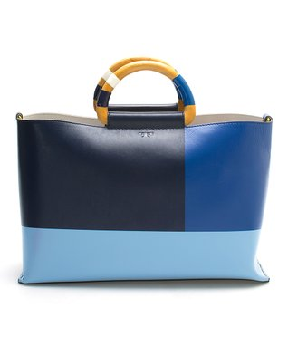 Navy & Blue Color Block Glazed Leather Tote