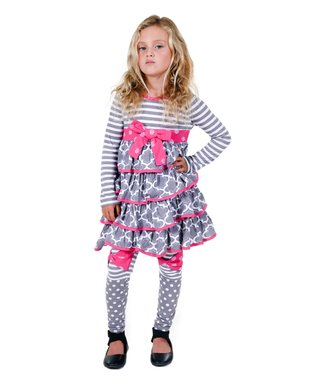 Gray & Pink Dehlia Dress & Leggings - Infant, Toddler & Girls