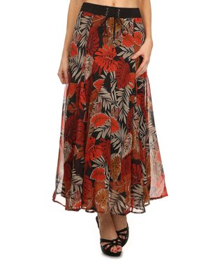 Rust Leaf Tie-Waist Maxi Skirt