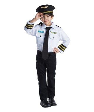 White & Black Pilot Dress-Up Set - Kids