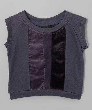 Graphite Velveteen-Panel Cap-Sleeve Top - Toddler & Girls