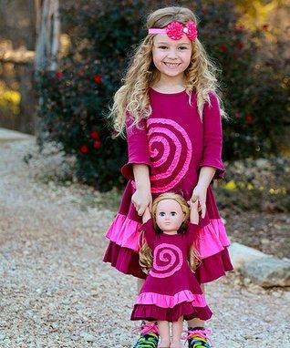 Raspberry Swirl Ella Swirl Dress & Doll Dress - Kids & Tween
