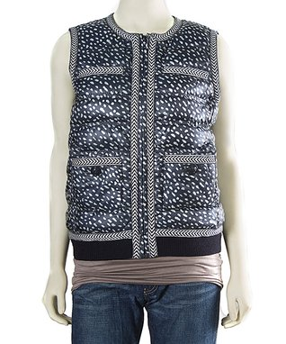 Black Dotted Pony Quilted Vest