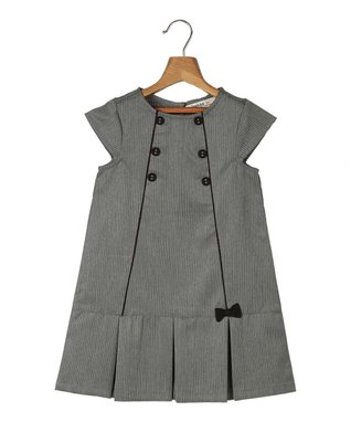 Gray Pinstripe Pleated A-Line Dress - Toddler & Girls