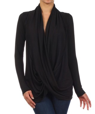 Black Surplice Drape Top