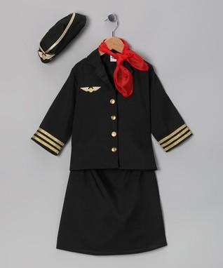 Black & Red Flight Attendant Dress-Up Set - Toddler & Kids