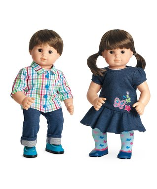 Light Skin, Brown Hair Boy & Girl 15'' Bitty Twins Doll Set