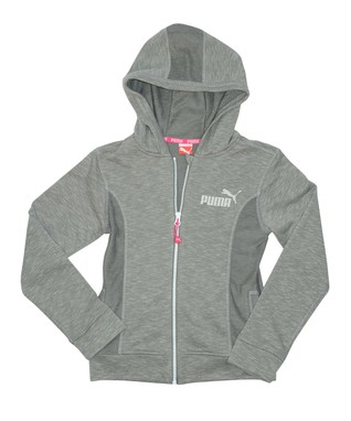 Gray Slup Zip-Up Hoodie - Girls