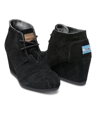 Black Suede Desert Wedge