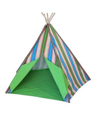 Green & Blue Stripe Teepee Tent