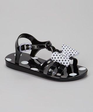 Black Polka Dot Bow Jelly Sandal