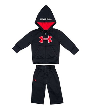 Black & Red Future Camo Zip-Up Hoodie & Pants - Infant