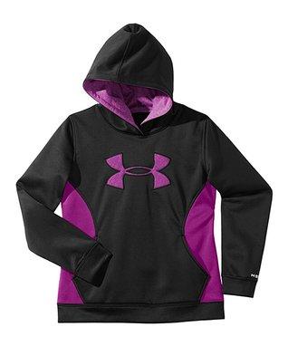 Black Logo Armour® Fleece Storm Hoodie - Girls