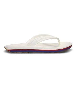 White & Red Retro Flip-Flop - Unisex