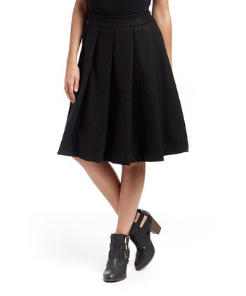 Black Wool-Blend Gwen Skirt