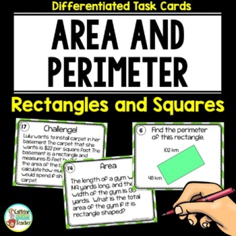 Area and Perimeter Task Cards for Squares and Rectangles!