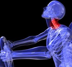 An infrared image showing the effects of a car accident on the neck.