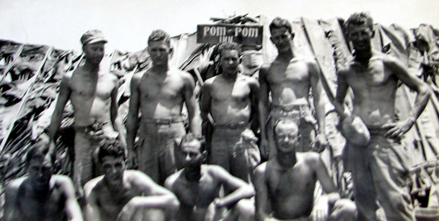 Blan Swofford and some of his buddies in the Phillipines during World War II. Blan is at top left, wearing the cap.