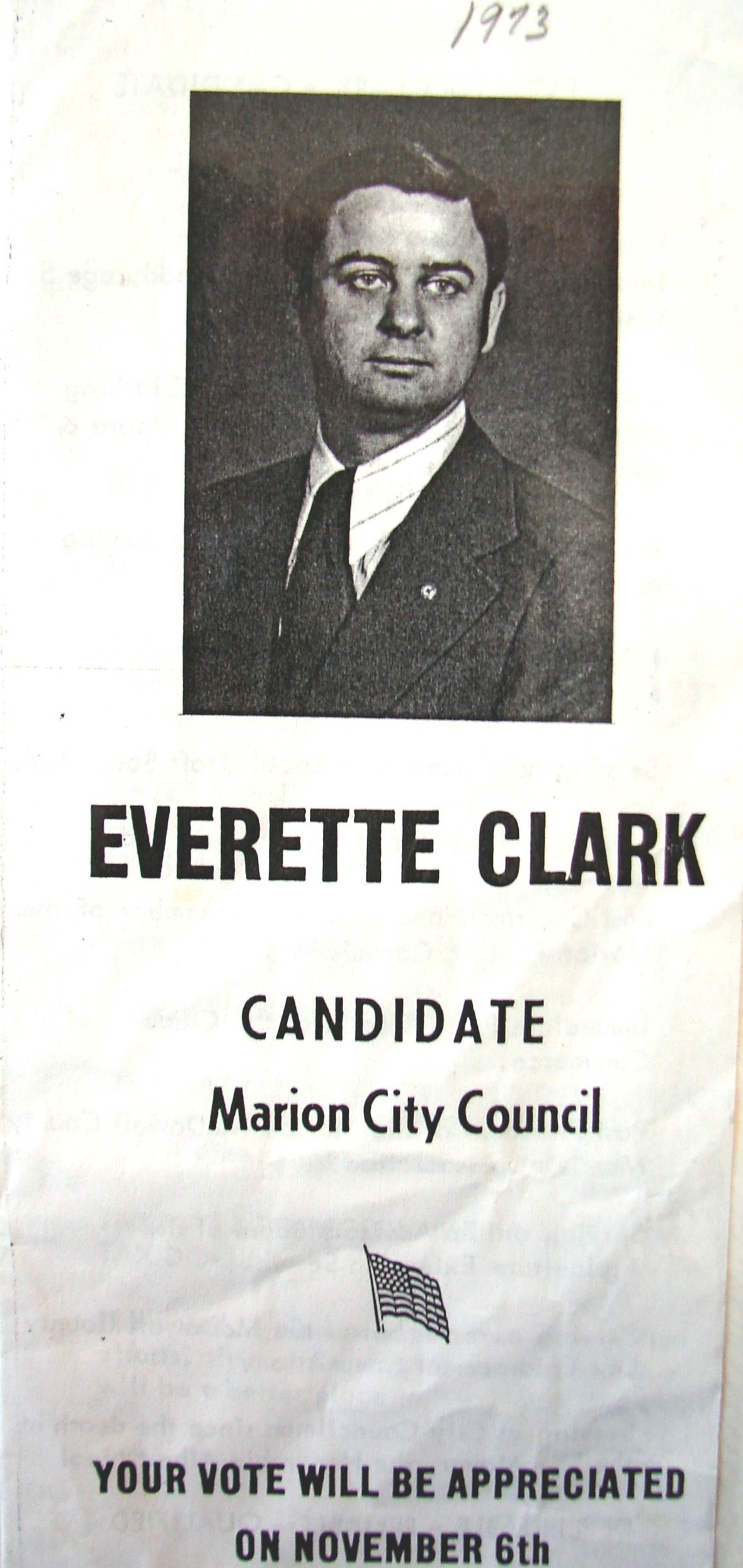 A flyer from Clark's first campaign