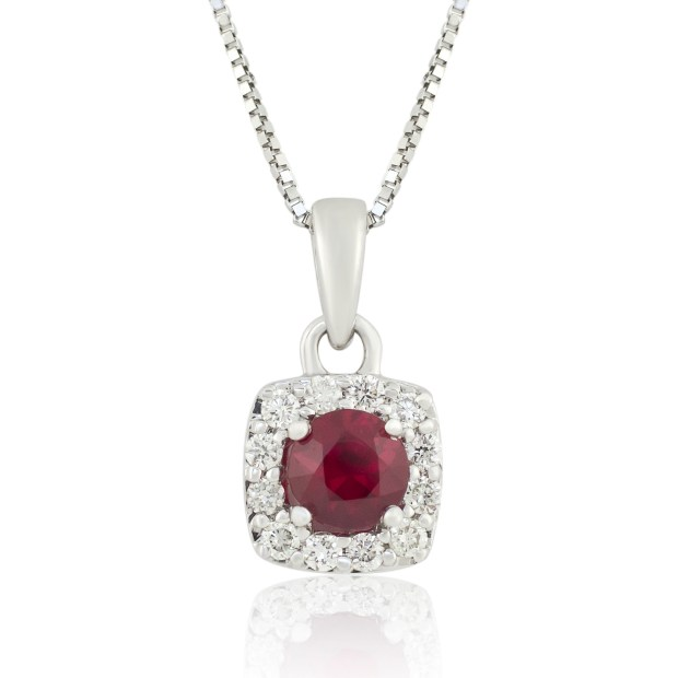 White gold ruby and diamond pendant with chain