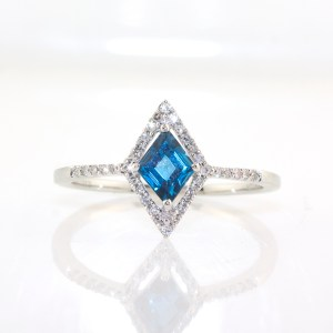 white gold blue topaz and diamond ring - kite shaped center and halo